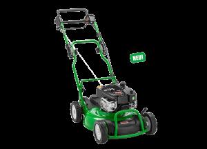 grüner Rasenmäher mit Seitenauswurf